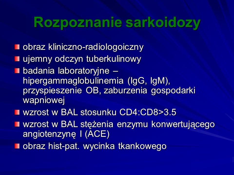 Rozpoznanie sarkoidozy obraz kliniczno-radiologoiczny ujemny odczyn tuberkulinowy badania laboratoryjne – hipergammaglobulinemia (IgG, IgM), przyspies