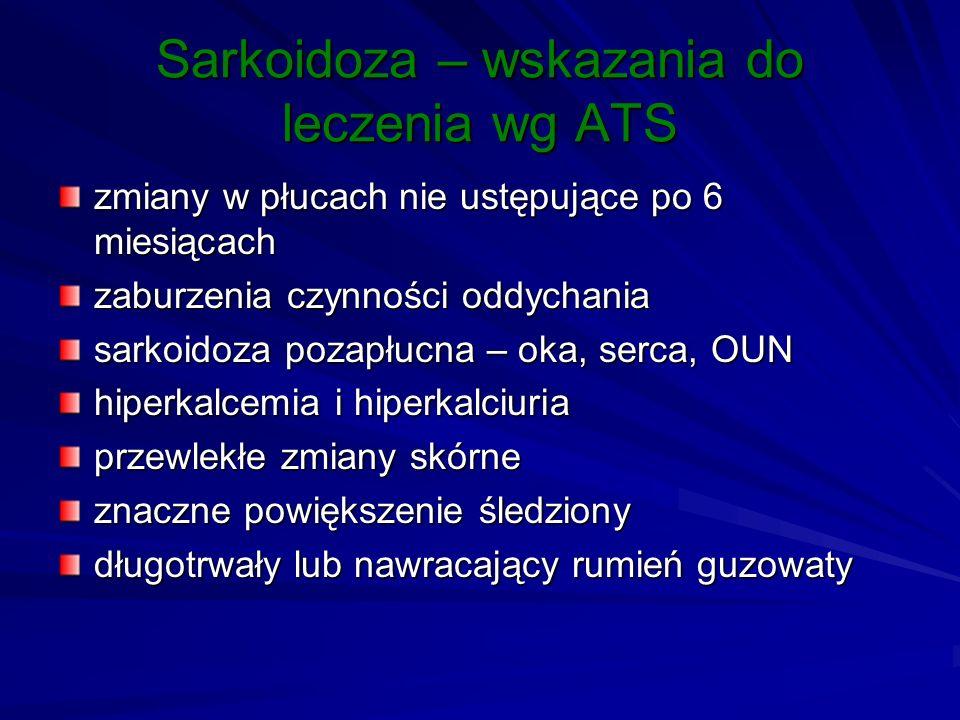 Sarkoidoza – wskazania do leczenia wg ATS zmiany w płucach nie ustępujące po 6 miesiącach zaburzenia czynności oddychania sarkoidoza pozapłucna – oka,
