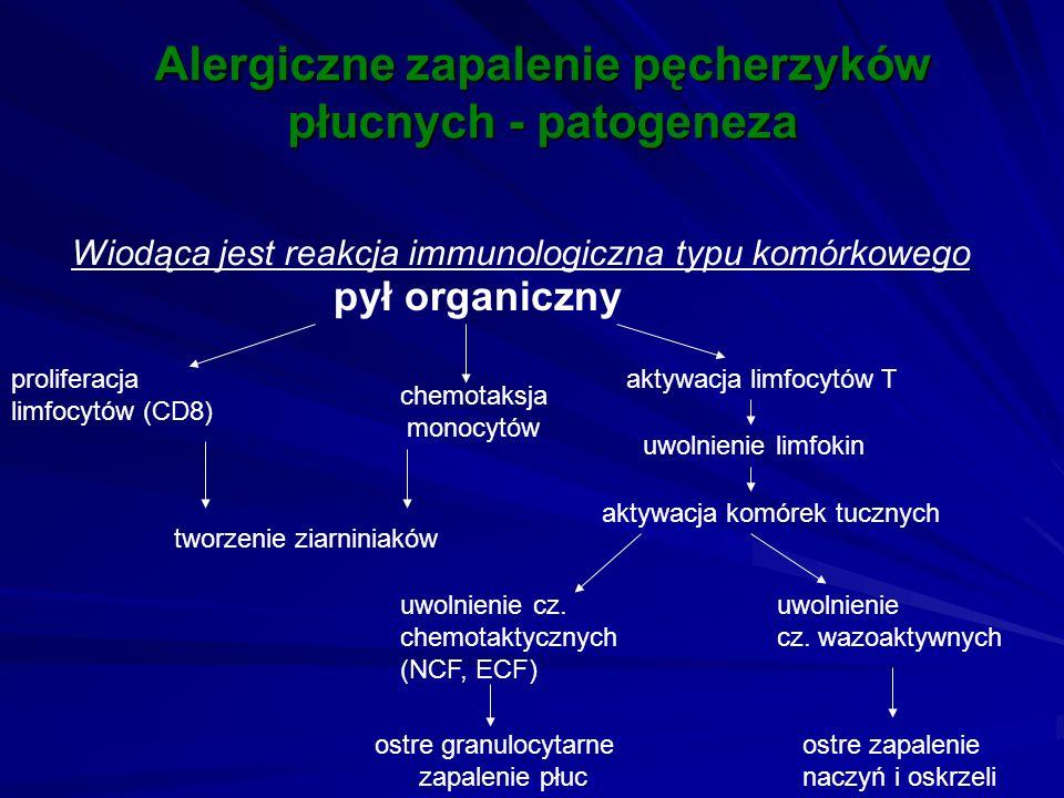 Alergiczne zapalenie pęcherzyków płucnych - patogeneza Wiodąca jest reakcja immunologiczna typu komórkowego pył organiczny aktywacja limfocytów T uwol