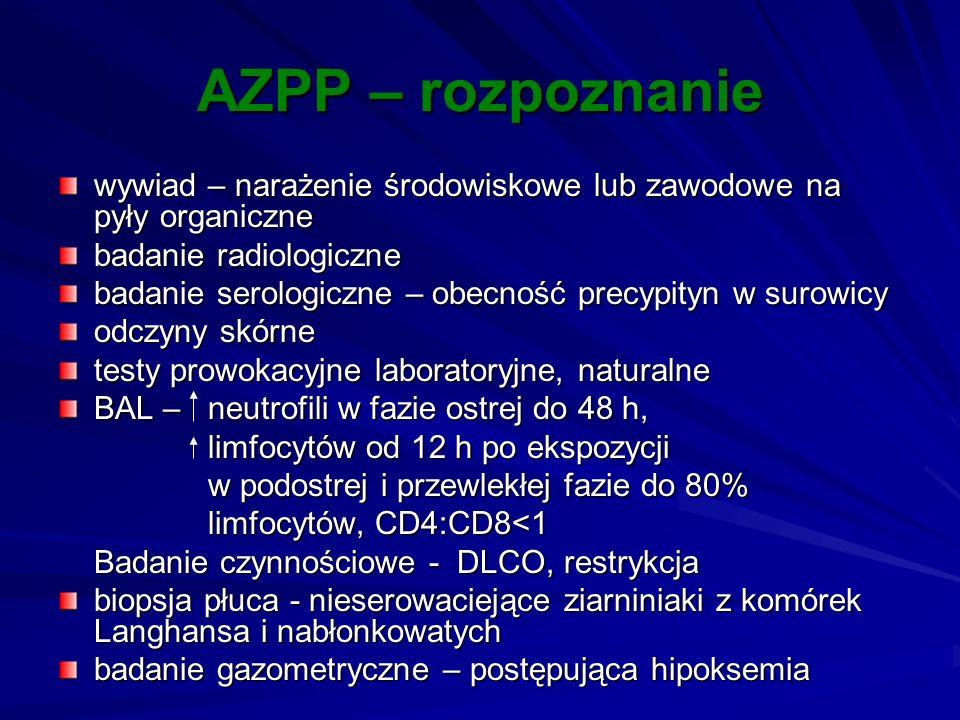 AZPP – rozpoznanie wywiad – narażenie środowiskowe lub zawodowe na pyły organiczne badanie radiologiczne badanie serologiczne – obecność precypityn w