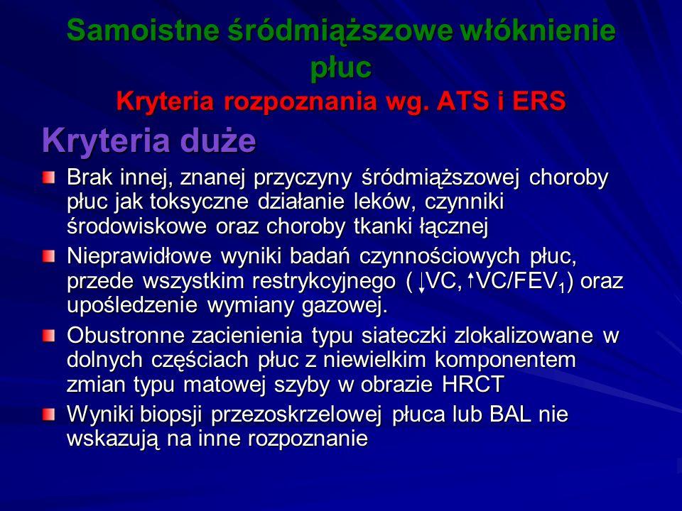 Samoistne śródmiąższowe włóknienie płuc Kryteria rozpoznania wg. ATS i ERS Kryteria duże Brak innej, znanej przyczyny śródmiąższowej choroby płuc jak