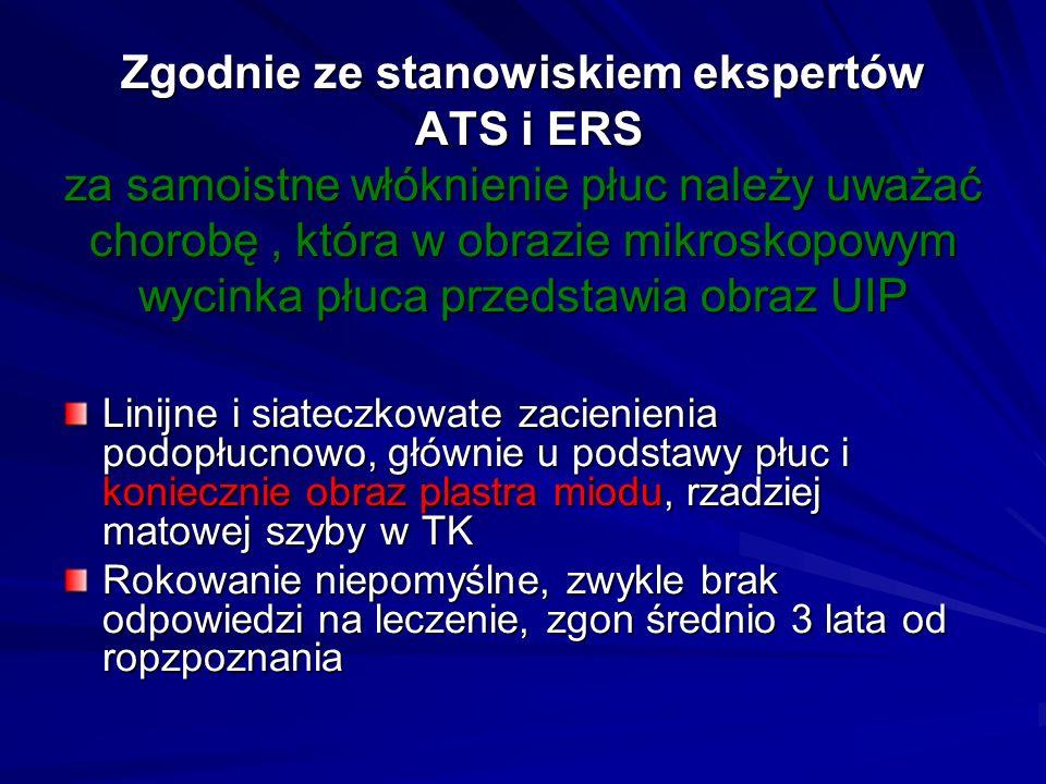 Zgodnie ze stanowiskiem ekspertów ATS i ERS za samoistne włóknienie płuc należy uważać chorobę, która w obrazie mikroskopowym wycinka płuca przedstawi