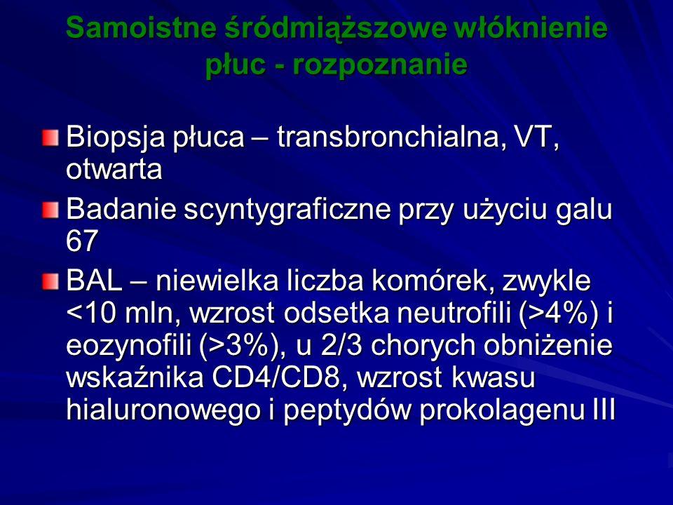 Samoistne śródmiąższowe włóknienie płuc - rozpoznanie Biopsja płuca – transbronchialna, VT, otwarta Badanie scyntygraficzne przy użyciu galu 67 BAL –