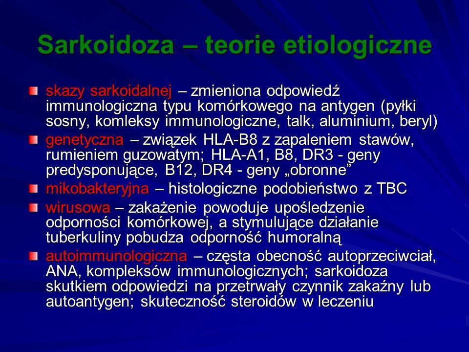Sarkoidoza – teorie etiologiczne skazy sarkoidalnej – zmieniona odpowiedź immunologiczna typu komórkowego na antygen (pyłki sosny, komleksy immunologi