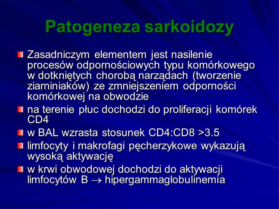 Patogeneza sarkoidozy Zasadniczym elementem jest nasilenie procesów odpornościowych typu komórkowego w dotkniętych chorobą narządach (tworzenie ziarni