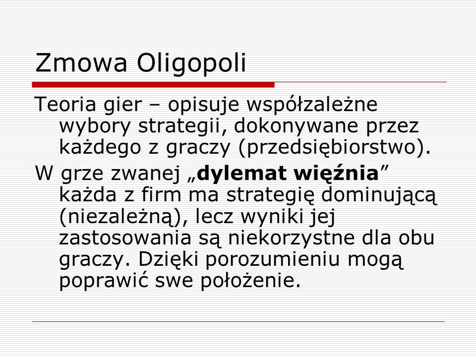 Zmowa Oligopoli Teoria gier – opisuje współzależne wybory strategii, dokonywane przez każdego z graczy (przedsiębiorstwo). W grze zwanej dylemat więźn
