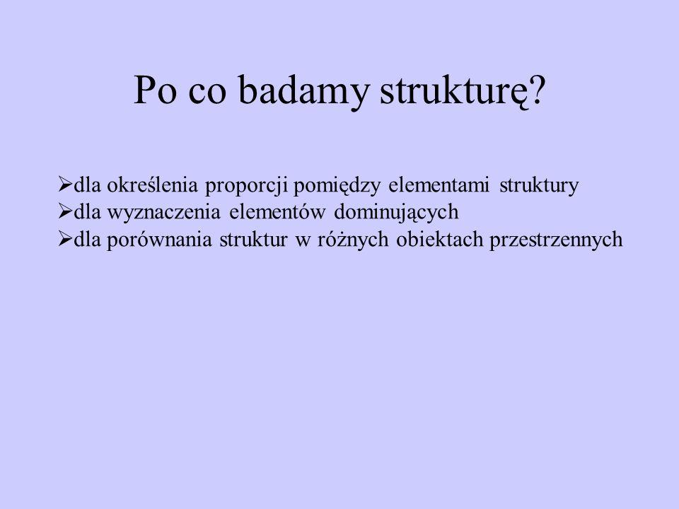 Po co badamy strukturę? dla określenia proporcji pomiędzy elementami struktury dla wyznaczenia elementów dominujących dla porównania struktur w różnyc