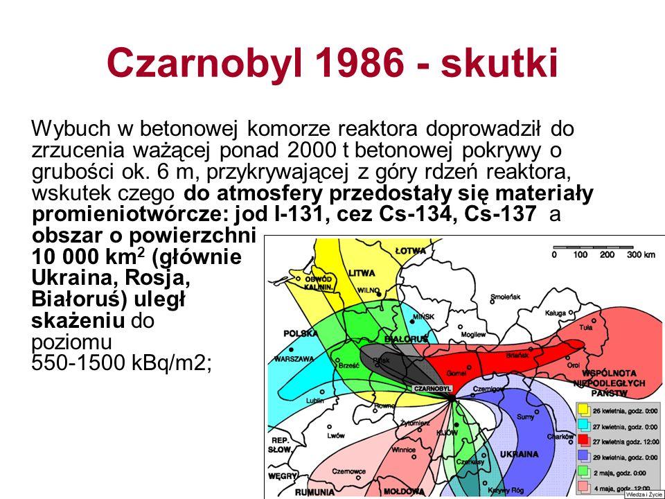 Czarnobyl 1986 - skutki Wybuch w betonowej komorze reaktora doprowadził do zrzucenia ważącej ponad 2000 t betonowej pokrywy o grubości ok.