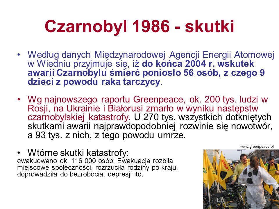 Czarnobyl 1986 - skutki Według danych Międzynarodowej Agencji Energii Atomowej w Wiedniu przyjmuje się, iż do końca 2004 r.