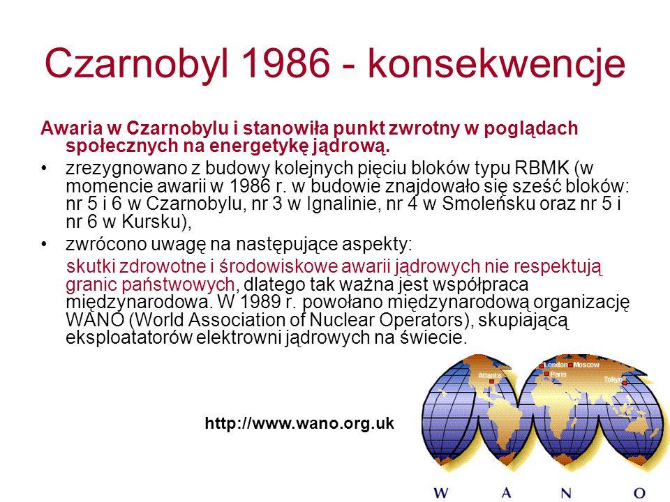 Czarnobyl 1986 - konsekwencje Awaria w Czarnobylu i stanowiła punkt zwrotny w poglądach społecznych na energetykę jądrową.