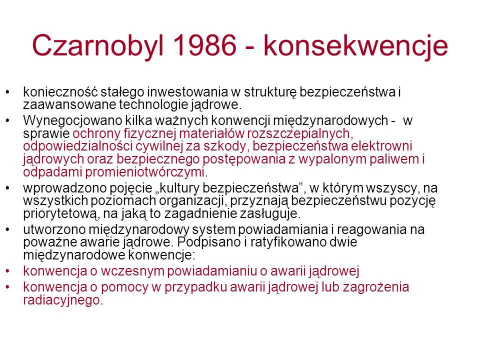 Czarnobyl 1986 - konsekwencje konieczność stałego inwestowania w strukturę bezpieczeństwa i zaawansowane technologie jądrowe.