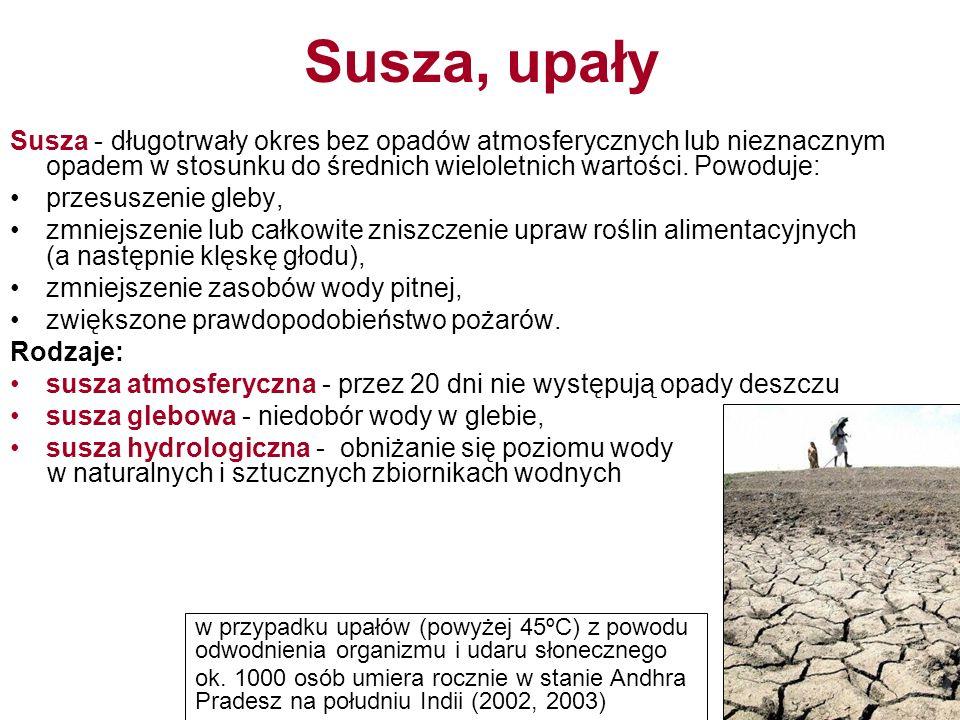 Susza, upały Susza - długotrwały okres bez opadów atmosferycznych lub nieznacznym opadem w stosunku do średnich wieloletnich wartości.