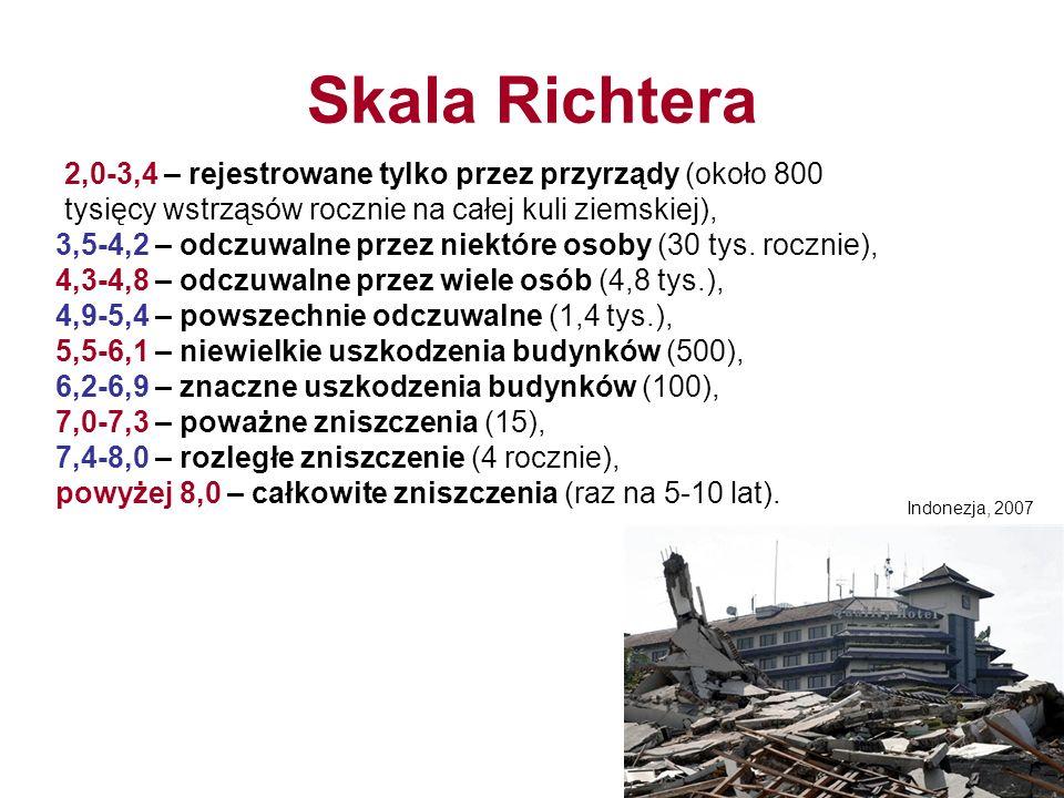 Skala Richtera 2,0-3,4 – rejestrowane tylko przez przyrządy (około 800 tysięcy wstrząsów rocznie na całej kuli ziemskiej), 3,5-4,2 – odczuwalne przez niektóre osoby (30 tys.