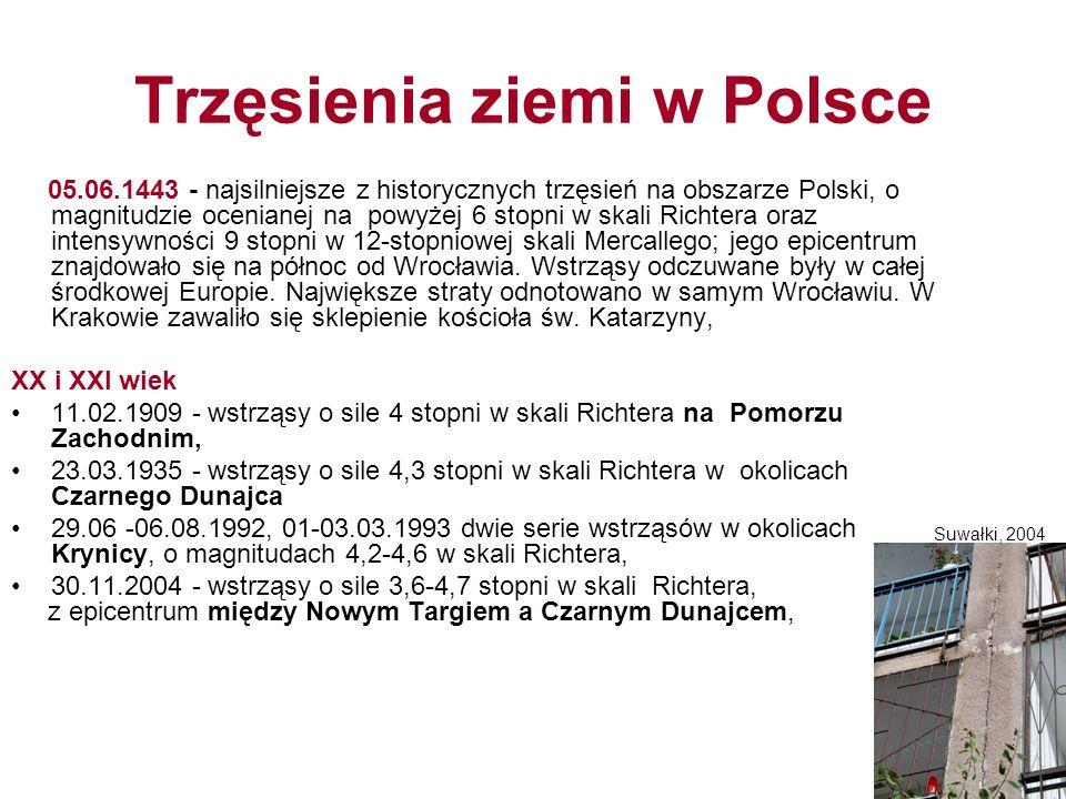 Trzęsienia ziemi w Polsce 05.06.1443 - najsilniejsze z historycznych trzęsień na obszarze Polski, o magnitudzie ocenianej na powyżej 6 stopni w skali Richtera oraz intensywności 9 stopni w 12-stopniowej skali Mercallego; jego epicentrum znajdowało się na północ od Wrocławia.