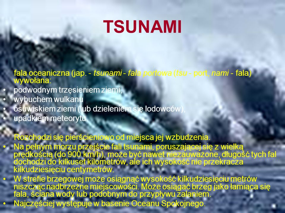 TSUNAMI fala oceaniczna (jap.