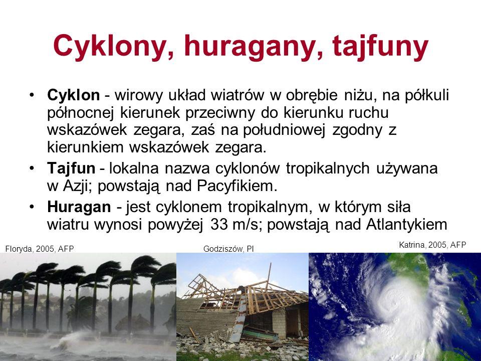 Cyklony, huragany, tajfuny Cyklon - wirowy układ wiatrów w obrębie niżu, na półkuli północnej kierunek przeciwny do kierunku ruchu wskazówek zegara, zaś na południowej zgodny z kierunkiem wskazówek zegara.