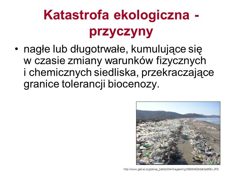 Katastrofa ekologiczna - przyczyny nagłe lub długotrwałe, kumulujące się w czasie zmiany warunków fizycznych i chemicznych siedliska, przekraczające granice tolerancji biocenozy.