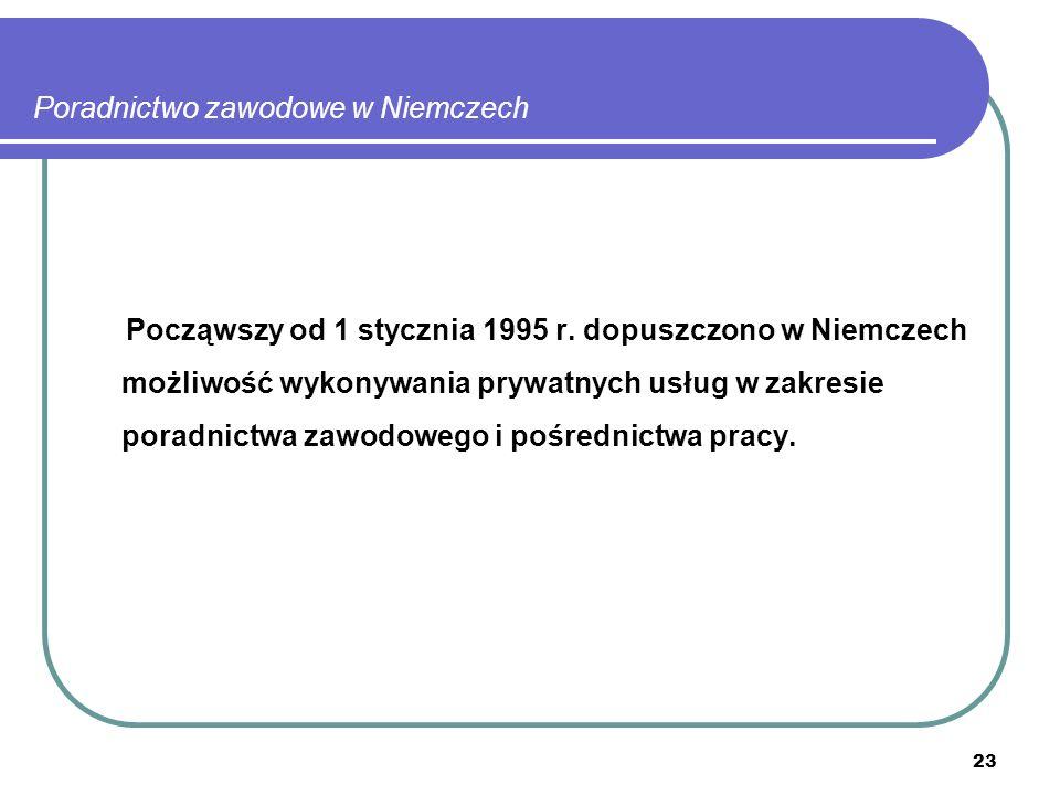 23 Poradnictwo zawodowe w Niemczech Począwszy od 1 stycznia 1995 r.