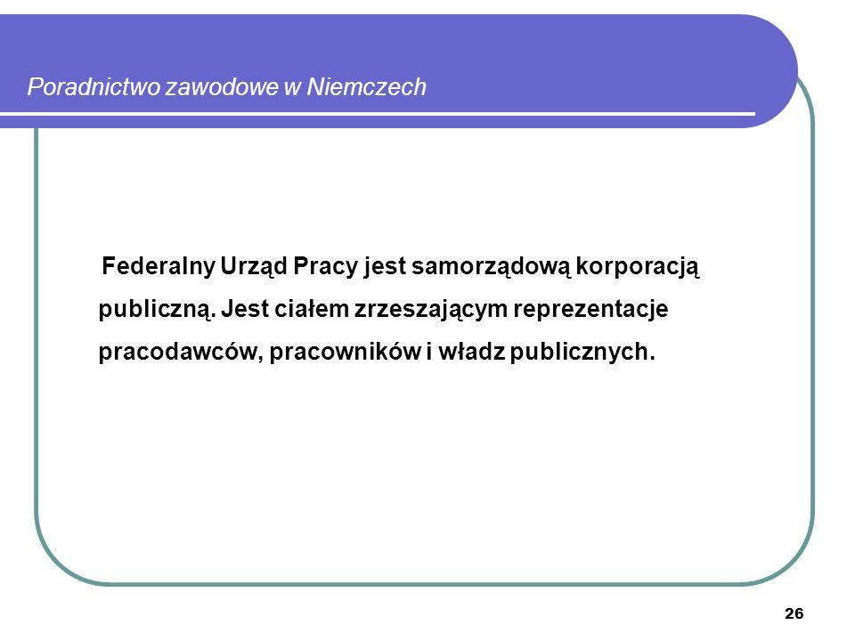 26 Poradnictwo zawodowe w Niemczech Federalny Urząd Pracy jest samorządową korporacją publiczną.