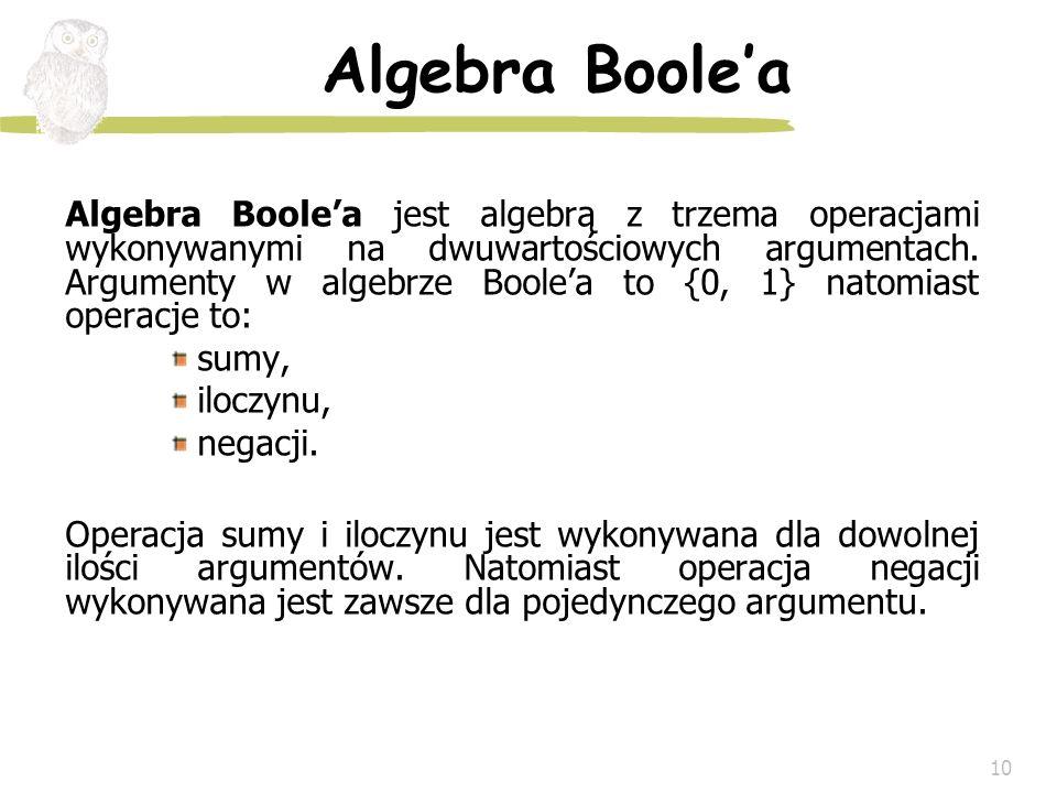 10 Algebra Boolea Algebra Boolea jest algebrą z trzema operacjami wykonywanymi na dwuwartościowych argumentach. Argumenty w algebrze Boolea to {0, 1}