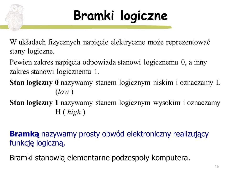 16 Bramki logiczne W układach fizycznych napięcie elektryczne może reprezentować stany logiczne. Pewien zakres napięcia odpowiada stanowi logicznemu 0