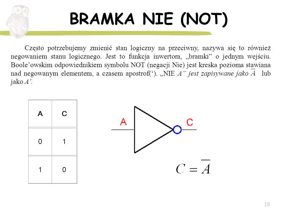 19 BRAMKA NIE (NOT) AC 01 10 Często potrzebujemy zmienić stan logiczny na przeciwny, nazywa się to również negowaniem stanu logicznego. Jest to funkcj