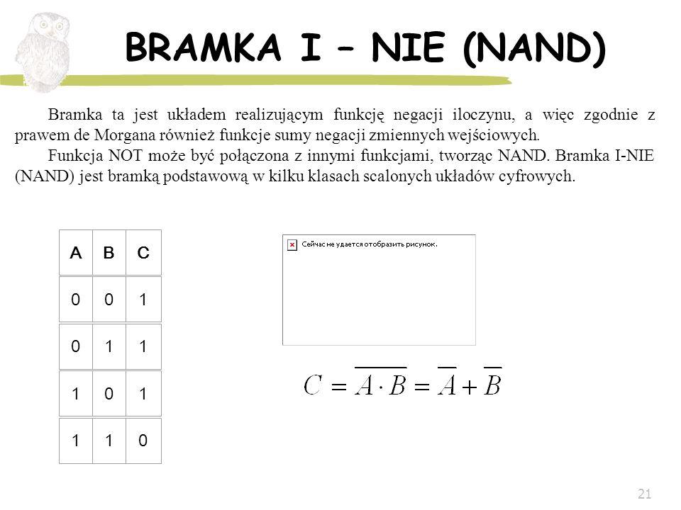 21 BRAMKA I – NIE (NAND) ABC 001 011 101 110 Bramka ta jest układem realizującym funkcję negacji iloczynu, a więc zgodnie z prawem de Morgana również