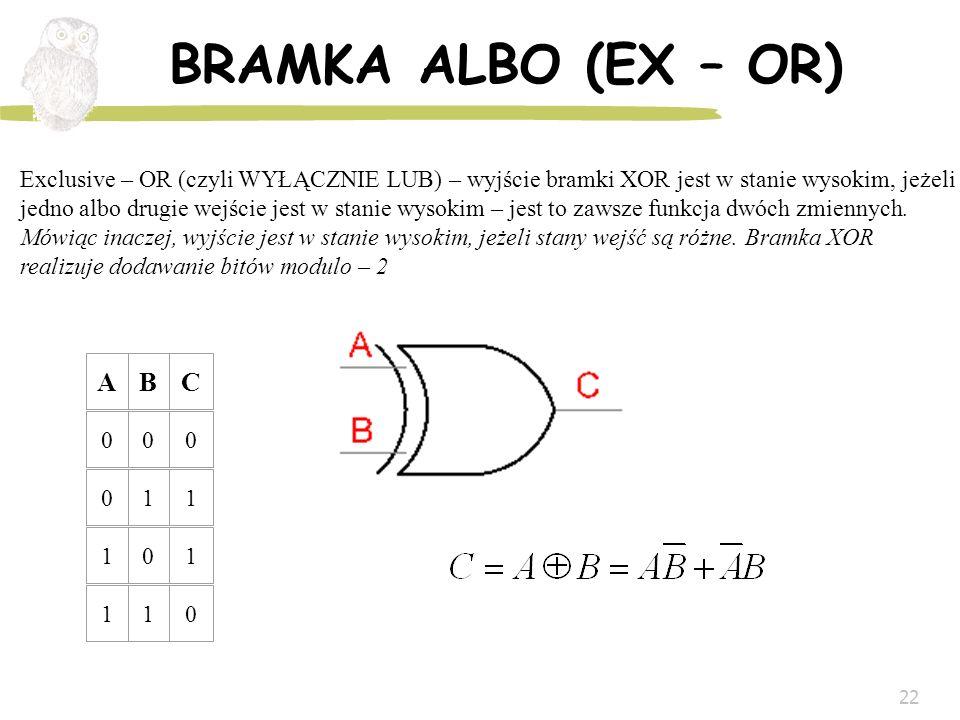 22 BRAMKA ALBO (EX – OR) ABC 000 011 101 110 Exclusive – OR (czyli WYŁĄCZNIE LUB) – wyjście bramki XOR jest w stanie wysokim, jeżeli jedno albo drugie