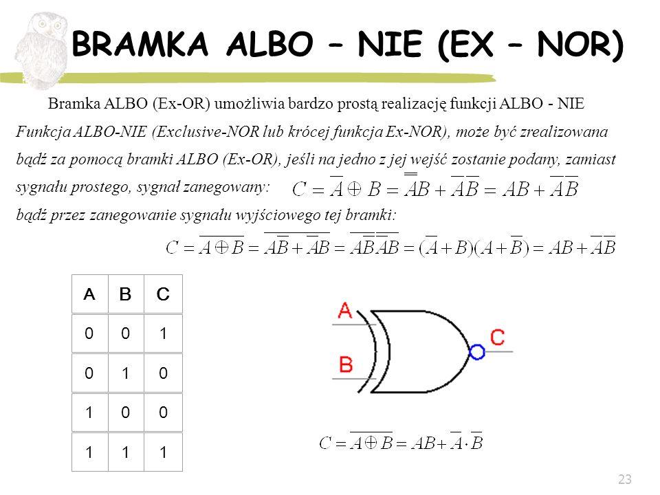23 BRAMKA ALBO – NIE (EX – NOR) A BC 001 010 100 111 Bramka ALBO (Ex-OR) umożliwia bardzo prostą realizację funkcji ALBO - NIE Funkcja ALBO-NIE (Exclu