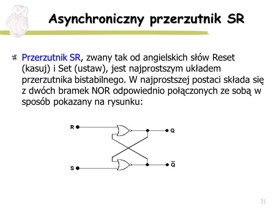 31 Asynchroniczny przerzutnik SR Przerzutnik SR Przerzutnik SR, zwany tak od angielskich słów Reset (kasuj) i Set (ustaw), jest najprostszym układem p