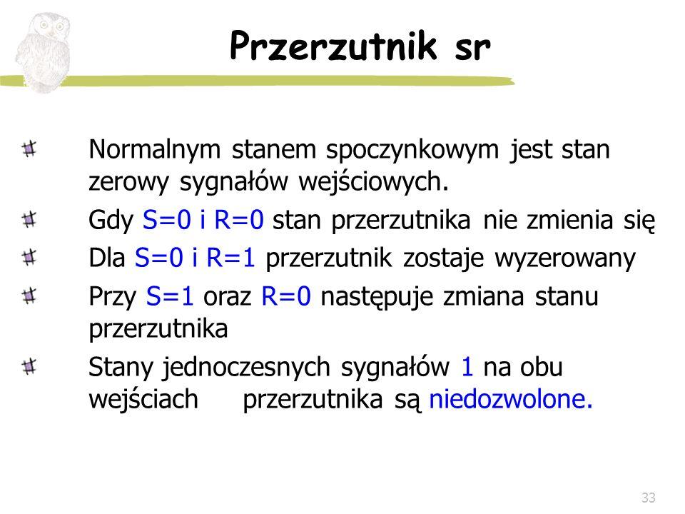 33 Przerzutnik sr Normalnym stanem spoczynkowym jest stan zerowy sygnałów wejściowych. Gdy S=0 i R=0 stan przerzutnika nie zmienia się Dla S=0 i R=1 p