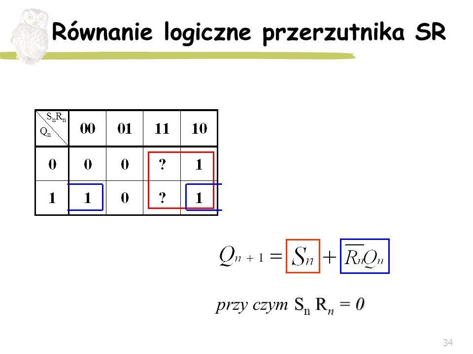 34 Równanie logiczne przerzutnika SR QnQn SnRnSnRn S n R n = 0 przy czym S n R n = 0