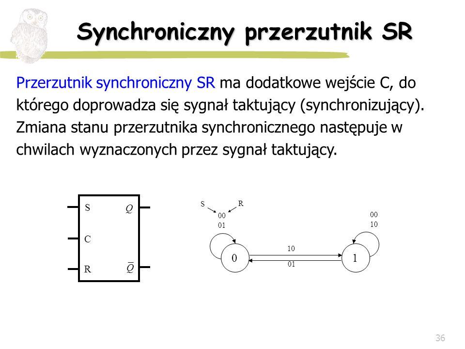 36 Synchroniczny przerzutnik SR Przerzutnik synchroniczny SR ma dodatkowe wejście C, do którego doprowadza się sygnał taktujący (synchronizujący). Zmi