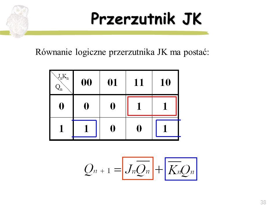 38 Przerzutnik JK Równanie logiczne przerzutnika JK ma postać: QnQn JnKnJnKn
