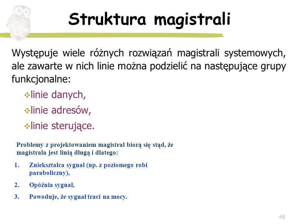 46 Struktura magistrali Występuje wiele różnych rozwiązań magistrali systemowych, ale zawarte w nich linie można podzielić na następujące grupy funkcj