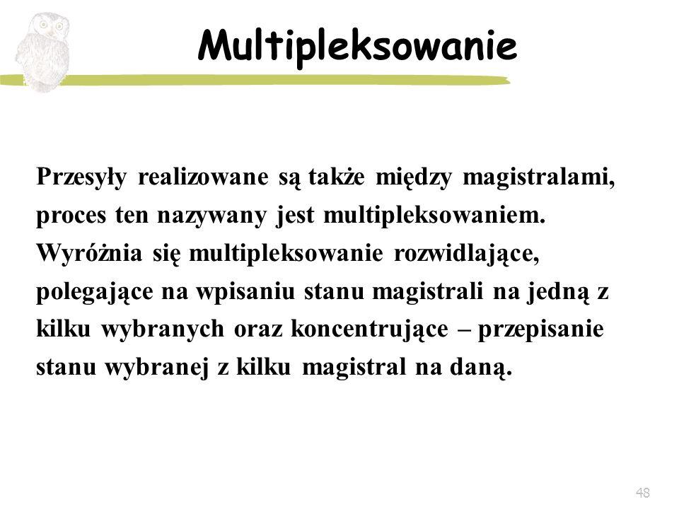 48 Multipleksowanie Przesyły realizowane są także między magistralami, proces ten nazywany jest multipleksowaniem. Wyróżnia się multipleksowanie rozwi
