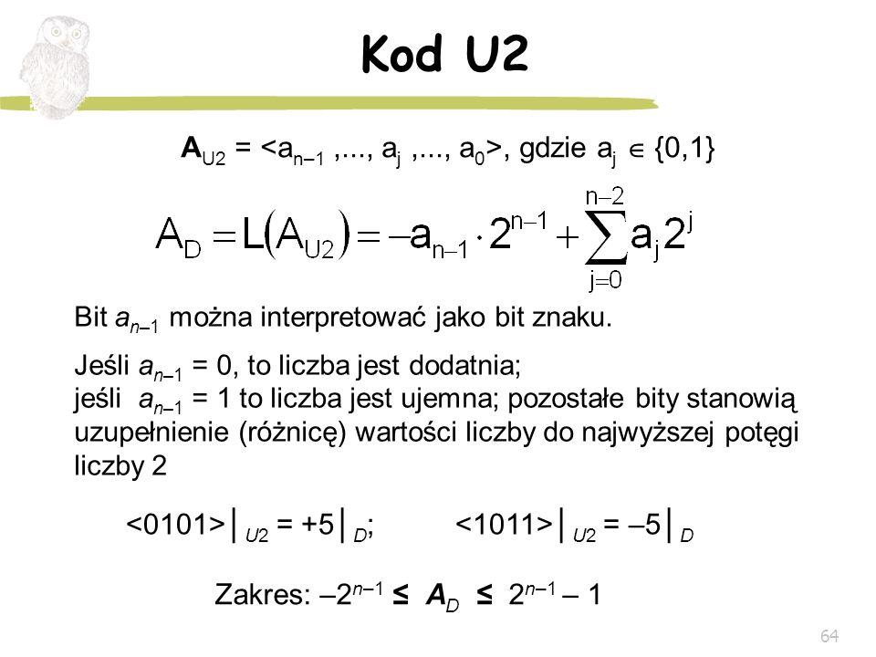 64 Kod U2 A U2 =, gdzie a j {0,1} Zakres: –2 n–1 A D 2 n–1 – 1 Bit a n–1 można interpretować jako bit znaku. Jeśli a n–1 = 0, to liczba jest dodatnia;