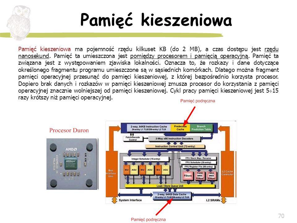 70 Pamięć kieszeniowa Pamięć kieszeniowa ma pojemność rzędu kilkuset KB (do 2 MB), a czas dostępu jest rzędu nanosekund. Pamięć ta umieszczona jest po