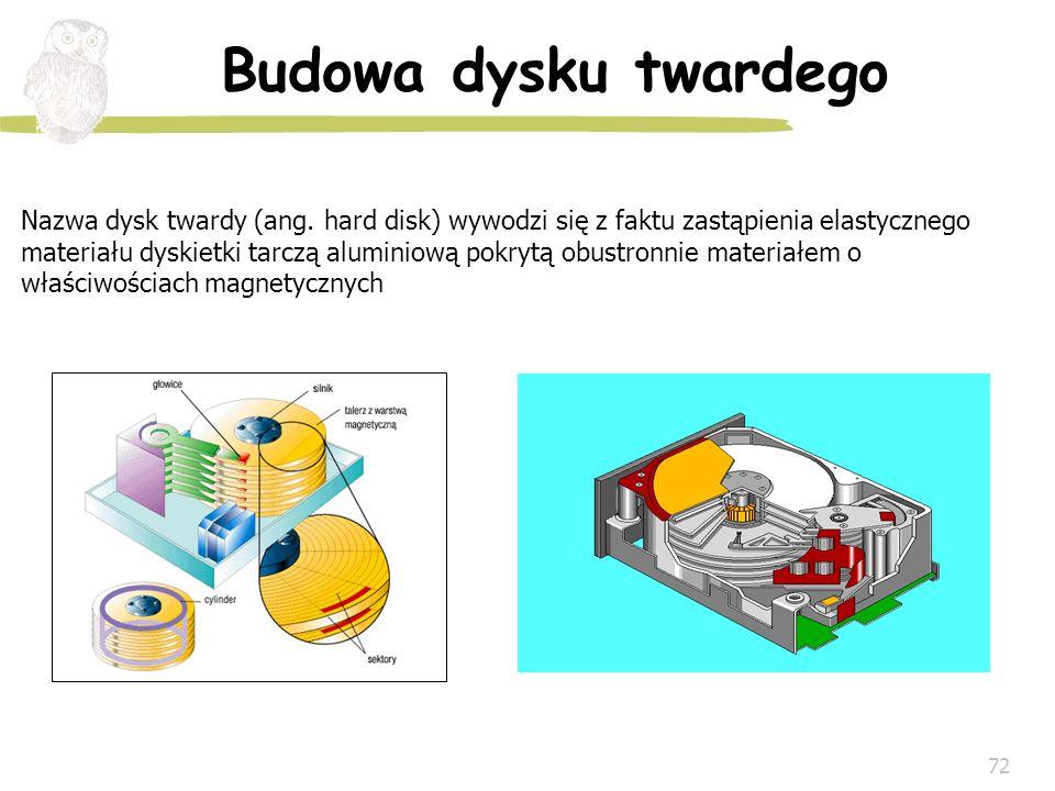 72 Budowa dysku twardego Nazwa dysk twardy (ang. hard disk) wywodzi się z faktu zastąpienia elastycznego materiału dyskietki tarczą aluminiową pokrytą