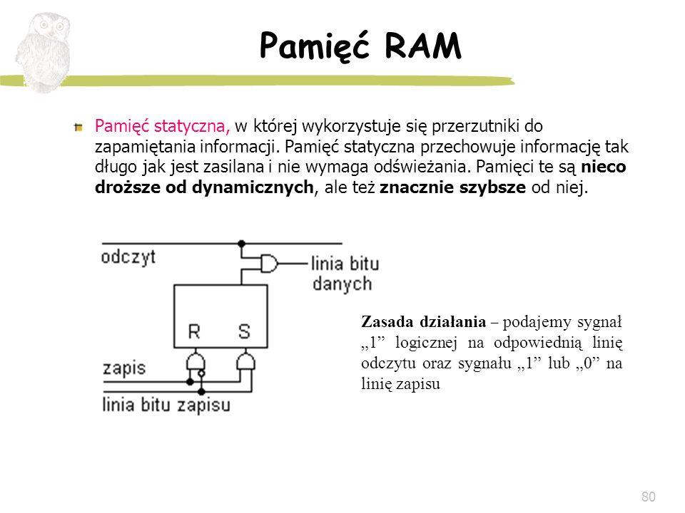 80 Pamięć RAM Pamięć statyczna, w której wykorzystuje się przerzutniki do zapamiętania informacji. Pamięć statyczna przechowuje informację tak długo j