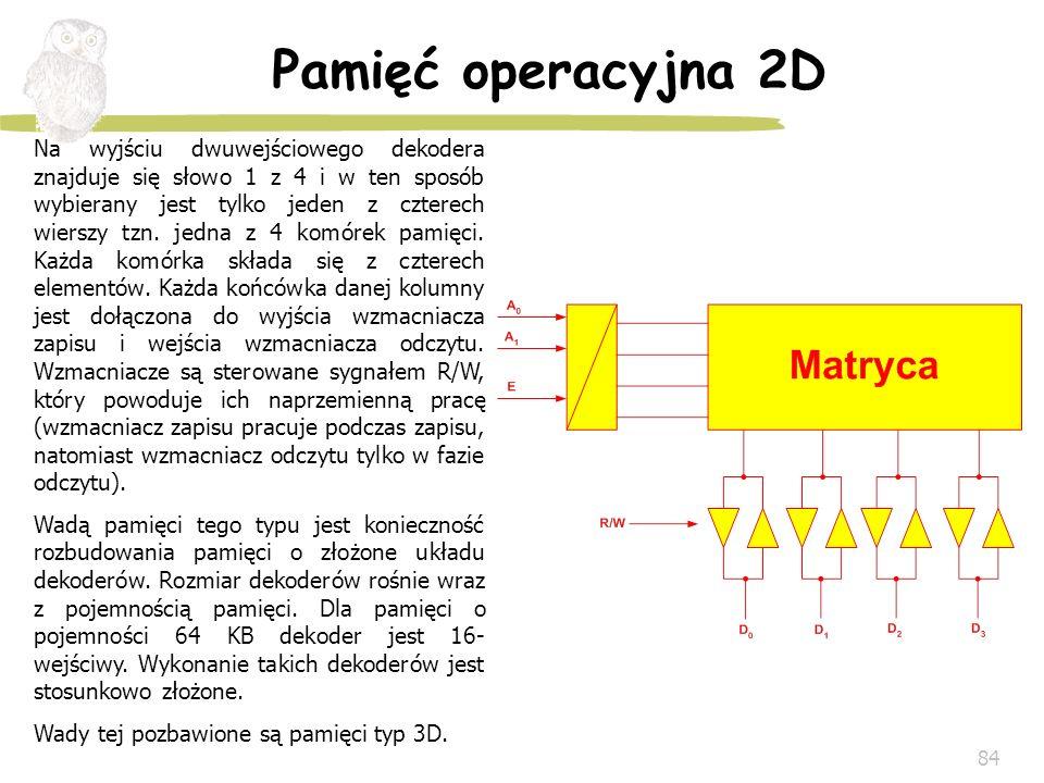 84 Pamięć operacyjna 2D Na wyjściu dwuwejściowego dekodera znajduje się słowo 1 z 4 i w ten sposób wybierany jest tylko jeden z czterech wierszy tzn.