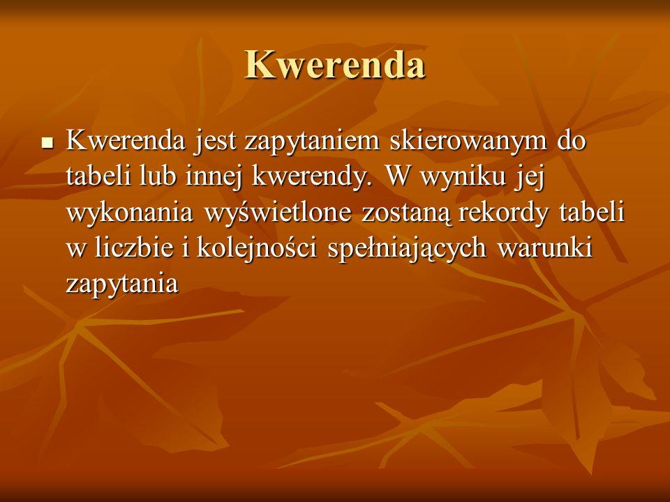 Kwerenda Kwerenda jest zapytaniem skierowanym do tabeli lub innej kwerendy. W wyniku jej wykonania wyświetlone zostaną rekordy tabeli w liczbie i kole