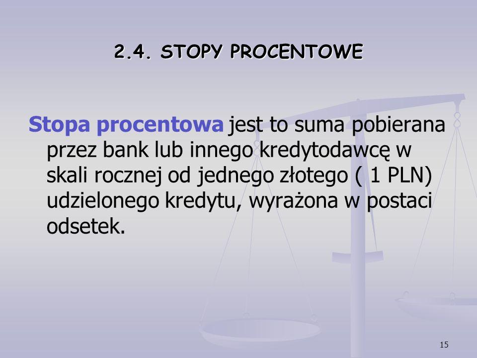 15 2.4. STOPY PROCENTOWE Stopa procentowa jest to suma pobierana przez bank lub innego kredytodawcę w skali rocznej od jednego złotego ( 1 PLN) udziel