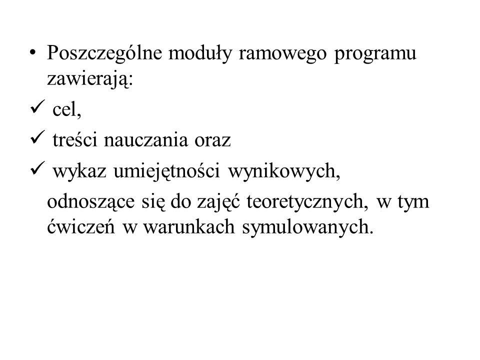 Poszczególne moduły ramowego programu zawierają: cel, treści nauczania oraz wykaz umiejętności wynikowych, odnoszące się do zajęć teoretycznych, w tym