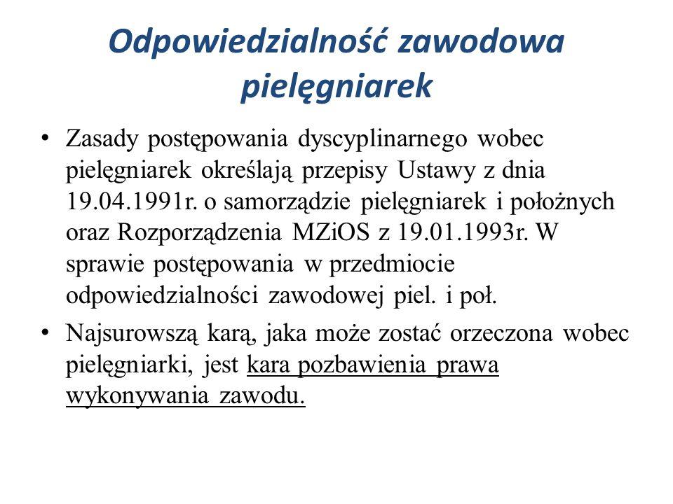 Odpowiedzialność zawodowa pielęgniarek Zasady postępowania dyscyplinarnego wobec pielęgniarek określają przepisy Ustawy z dnia 19.04.1991r. o samorząd