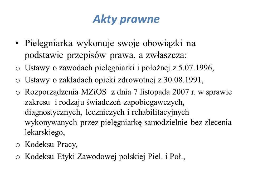 Akty prawne Pielęgniarka wykonuje swoje obowiązki na podstawie przepisów prawa, a zwłaszcza: o Ustawy o zawodach pielęgniarki i położnej z 5.07.1996,
