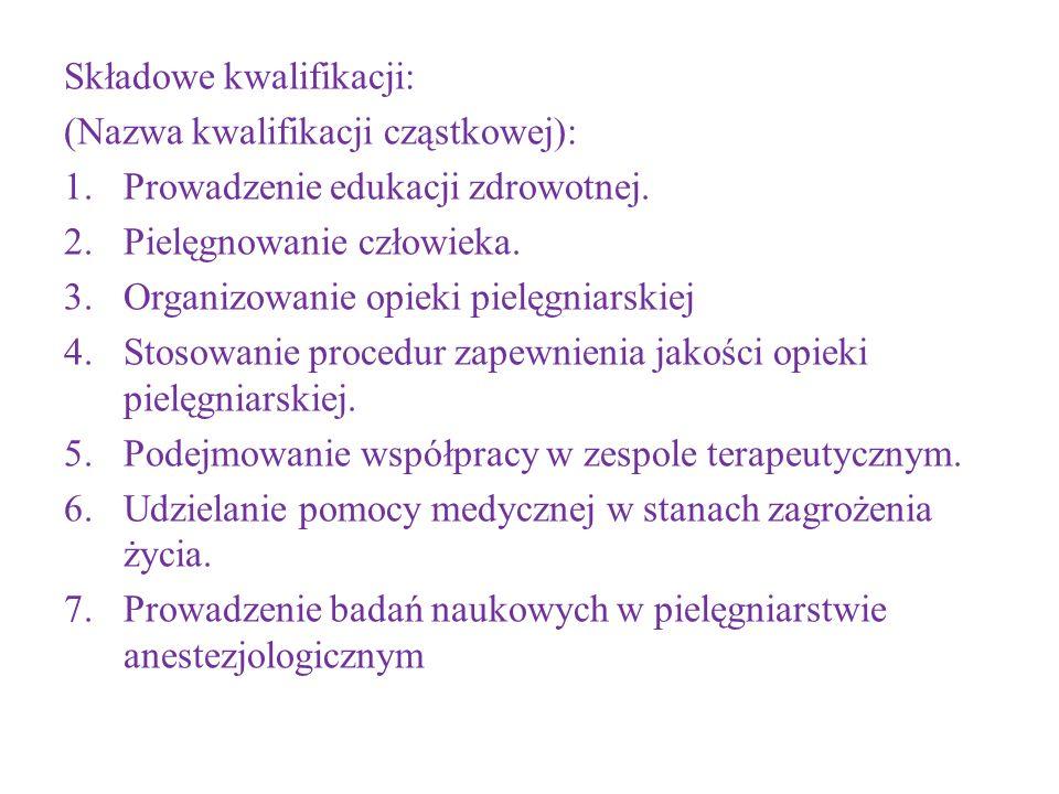 Składowe kwalifikacji: (Nazwa kwalifikacji cząstkowej): 1.Prowadzenie edukacji zdrowotnej. 2.Pielęgnowanie człowieka. 3.Organizowanie opieki pielęgnia