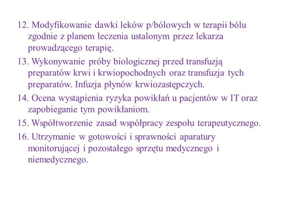 12. Modyfikowanie dawki leków p/bólowych w terapii bólu zgodnie z planem leczenia ustalonym przez lekarza prowadzącego terapię. 13. Wykonywanie próby