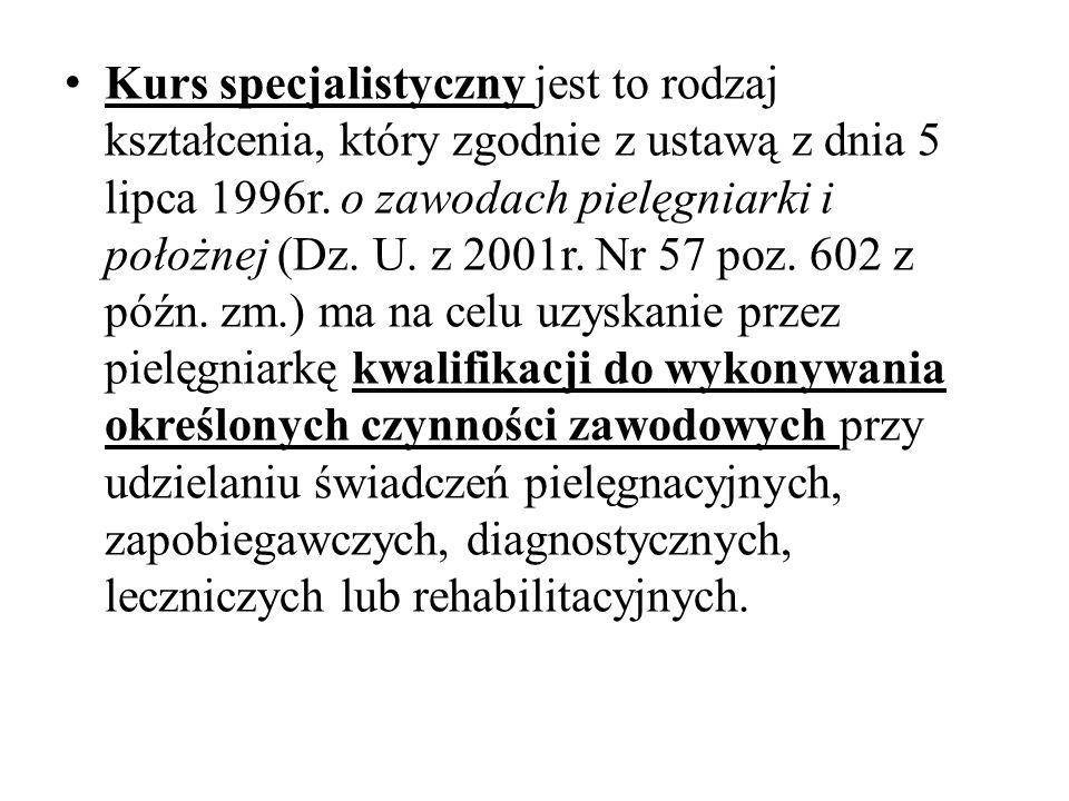 Kurs specjalistyczny jest to rodzaj kształcenia, który zgodnie z ustawą z dnia 5 lipca 1996r. o zawodach pielęgniarki i położnej (Dz. U. z 2001r. Nr 5