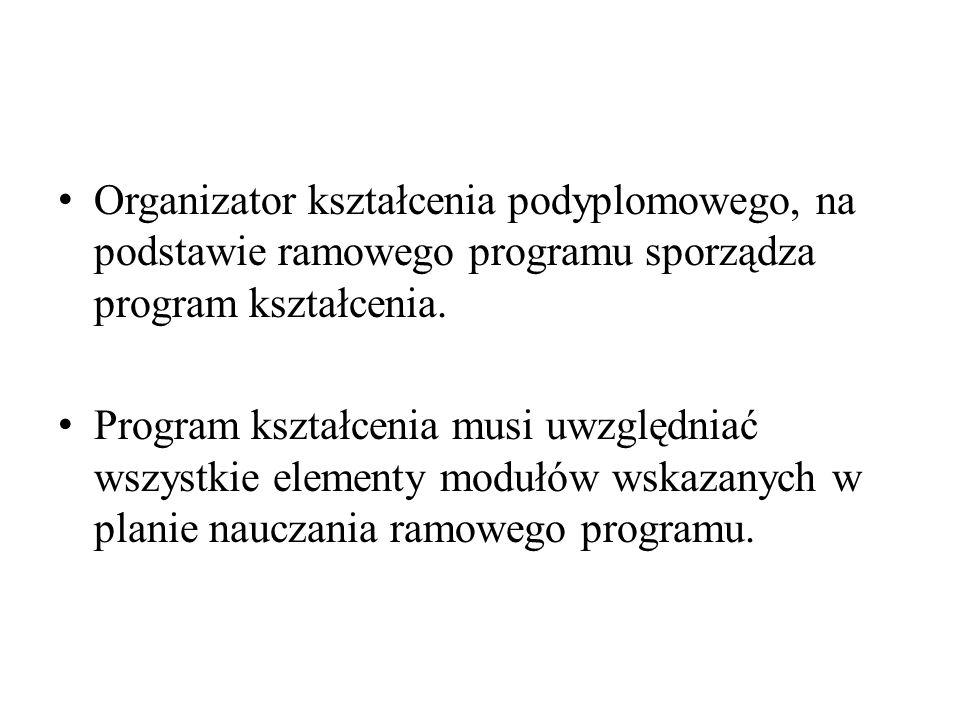Organizator kształcenia podyplomowego, na podstawie ramowego programu sporządza program kształcenia. Program kształcenia musi uwzględniać wszystkie el